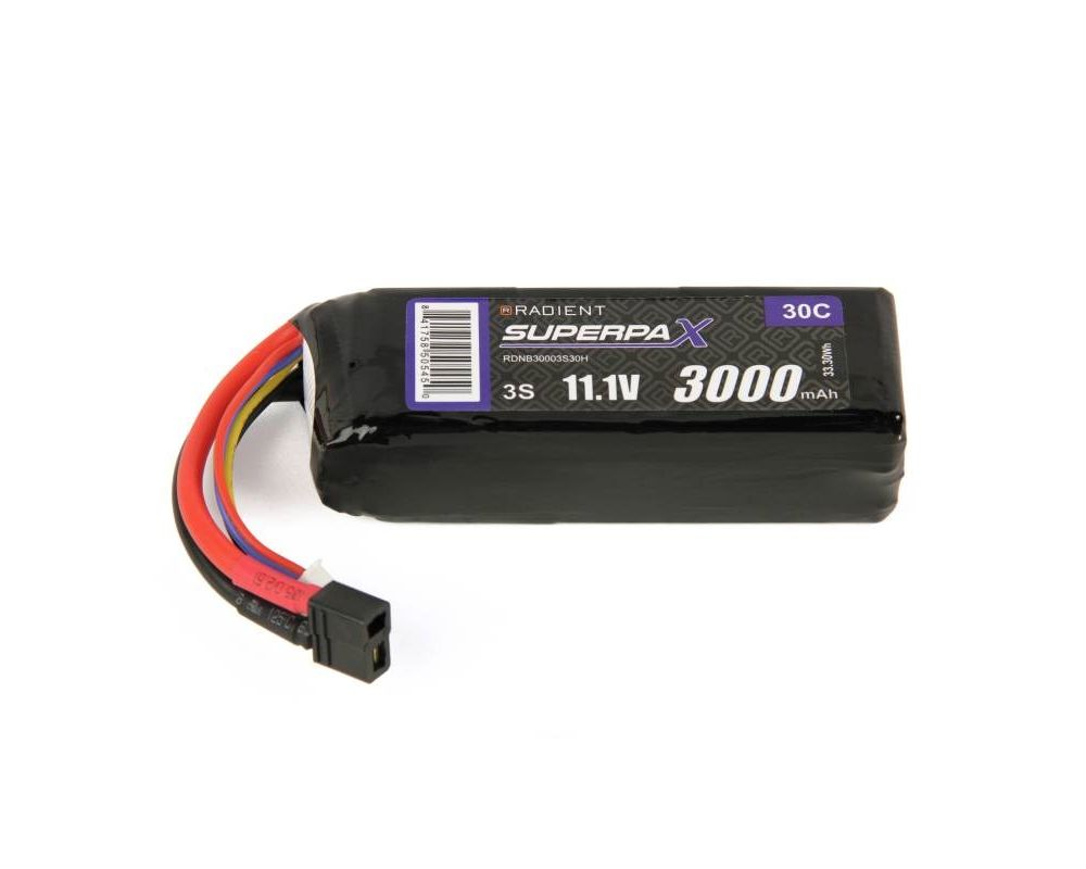 radient 3000mah 11.1v 30c lipo battery pack t type connector