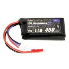 radient 450mah 7.4v 30c lipo battery pack jst connector